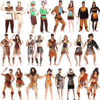 Men Women African Original Indian Savage Costume Wild Cosplay Halloween Carnival Costumes Fancy Dress Party Decoration