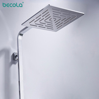 BECOLA 10Inch (25CM) Stainless Steel Square Rain Shower Head 400 Holes Water Out Rainfall Showerhead (Not Including Shower Arm)