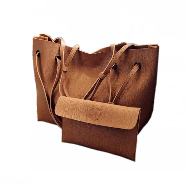 new fashion plain big black tote handbag set of 2 women pink shopping bag lady grey  brown clutch
