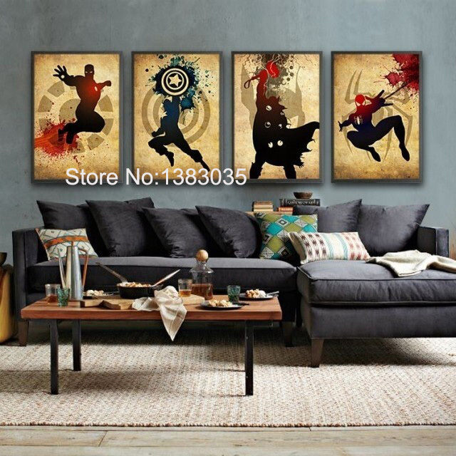 Comic Heroes Iron Man,Captain America,Thor,Spider Man Hand Painted Oil  Painting