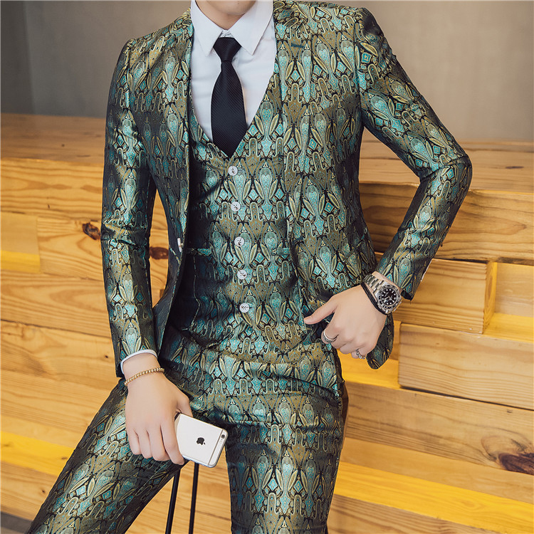 Mens Fancy Suit Wedding Prom Suit Smoking Masculino Stage Wear DJ Singer Trajes Hombres Formal Costume Homme Mariage