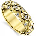 Luxury 585 Moissanites Wedding Pave Band GDTC Certificate 14K Yellow Gold  Lab Grown Diamond Anniversary Ring Band Gifts
