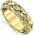Pavimentar Banda de luxo 585 Casamento Moissanites GDTC Certificado 14 K Amarelo Ouro Laboratório Crescido Anel de Diamante Aniversário Presentes Banda