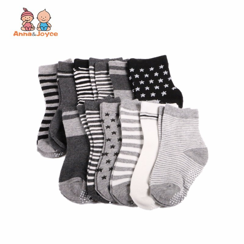 ( 12 Pairs/lot ) 100% Cotton Baby Socks Rubber Slip-resistant Floor Socks Cartoon Small Kid's Socks Suit 0-24months
