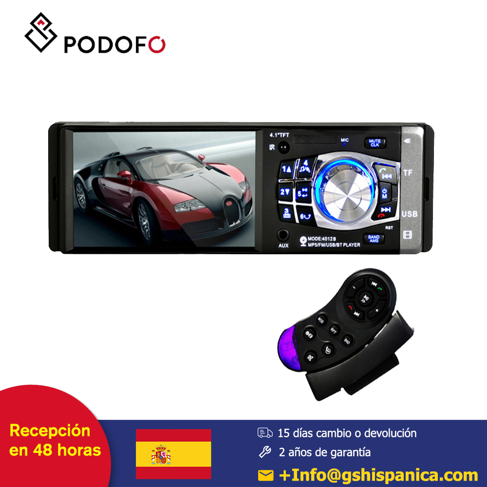 Podofo 1 din 4'' HD Stereo Car radio Multimedia Player Bluetooth FM Remote Control Support Rear View Camera