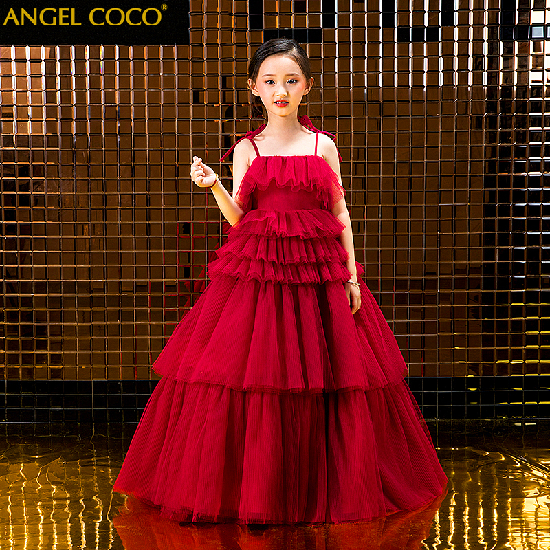 Childrens small host flower girl evening dress Model catwalk show performance princess fluffy winter girl gown 2019 Kaftan Childrens small host flower girl evening dress Model catwalk show performance princess fluffy winter girl gown 2019 Kaftan