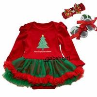 Newborn Baby Girl Christmas Dress Xmas Outfits Baby Baptism Dresses Birthday Kids Dress Cute Tutu Long