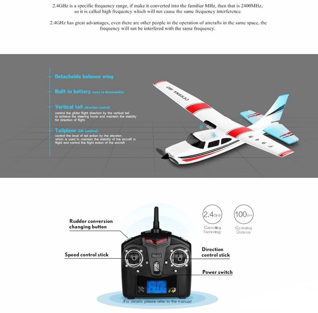 2019 Brand New 2.4G 3Ch RC Airplane Fixed Wing Plane Outdoor toys Drone For Gifts 10