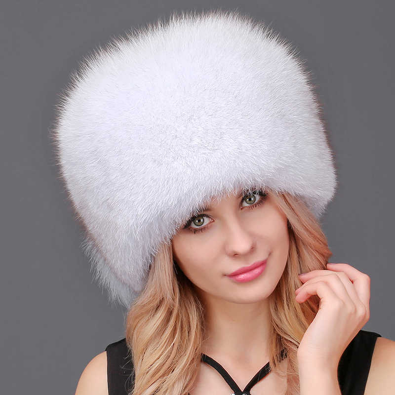 c8507c266a4 Women Winter Bomber Hats Warm Winter Hat Natural Fox Fur With Tail Hat  Thick Snow Cap