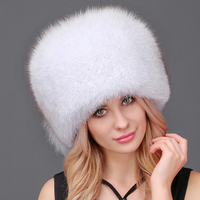 Women Winter Bomber Hats Warm Winter Hat Natural Fox Fur With Tail Hat Thick Snow Cap Outdoor Ski Cap