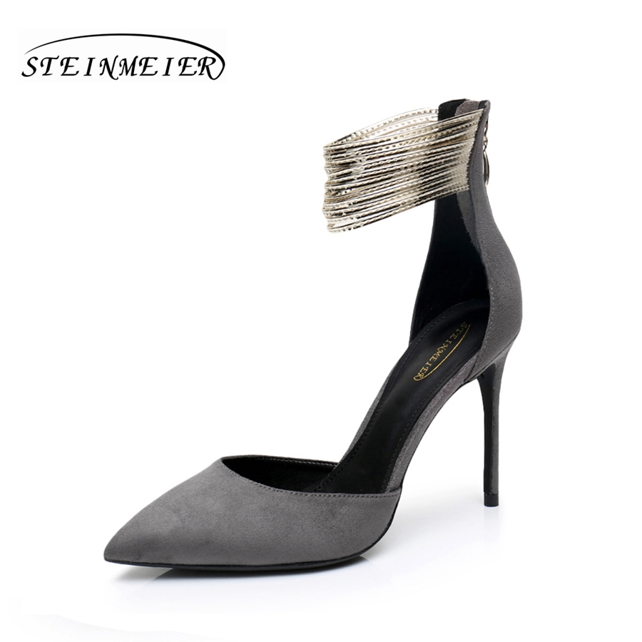 High heels sexy suede leather sandals 10cm thin heel zipper metal grey heel women pumps wedding high heel shoes steinmeier classic fashion women s club banquet wedding shoes sexy suede zipper 17 cm in stiletto heels
