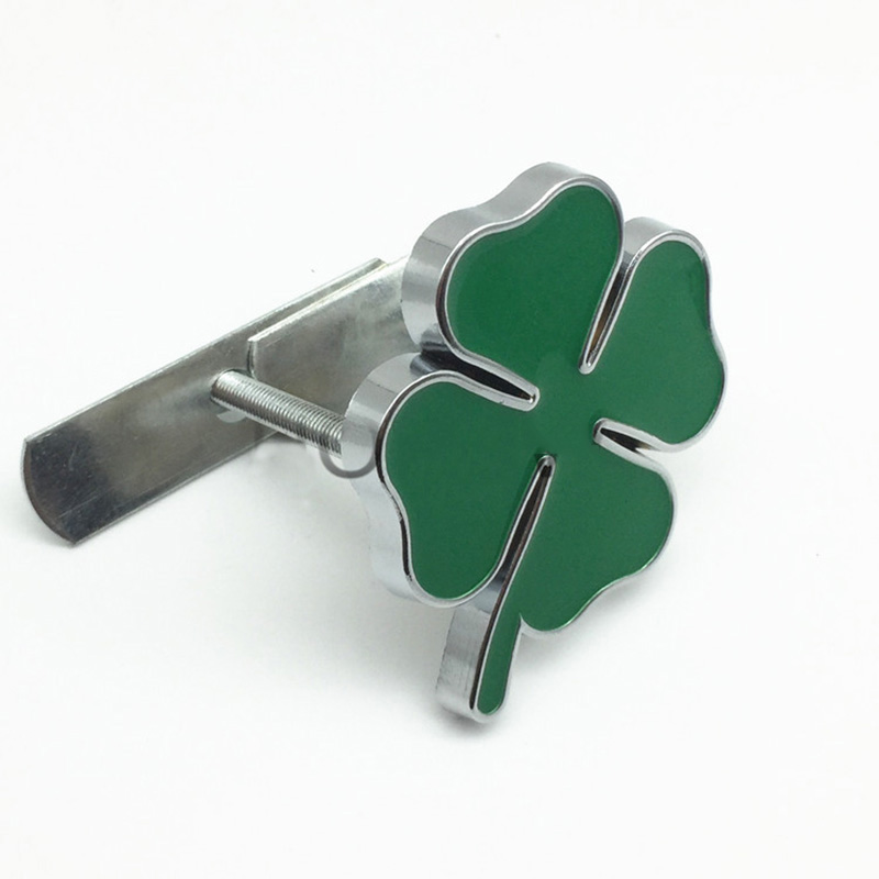 64mm Green Clover Leaf Badge Thick Metal Chrome Emblem For Alfa
