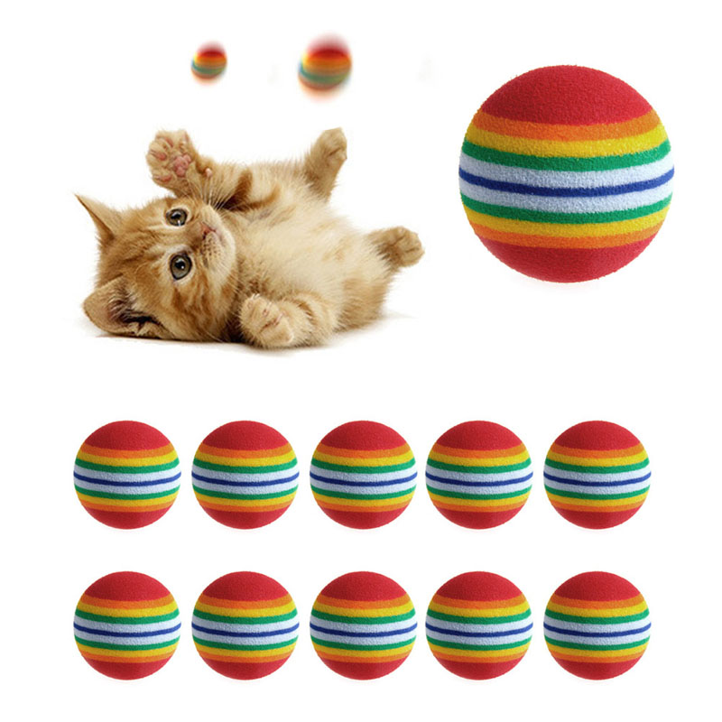 New 10Pcs Colorful Cat Toy Ball Interactive Dog Cat Toys Play Chewing Rattle Scratch Natural Foam Ball Training Pet Supplies