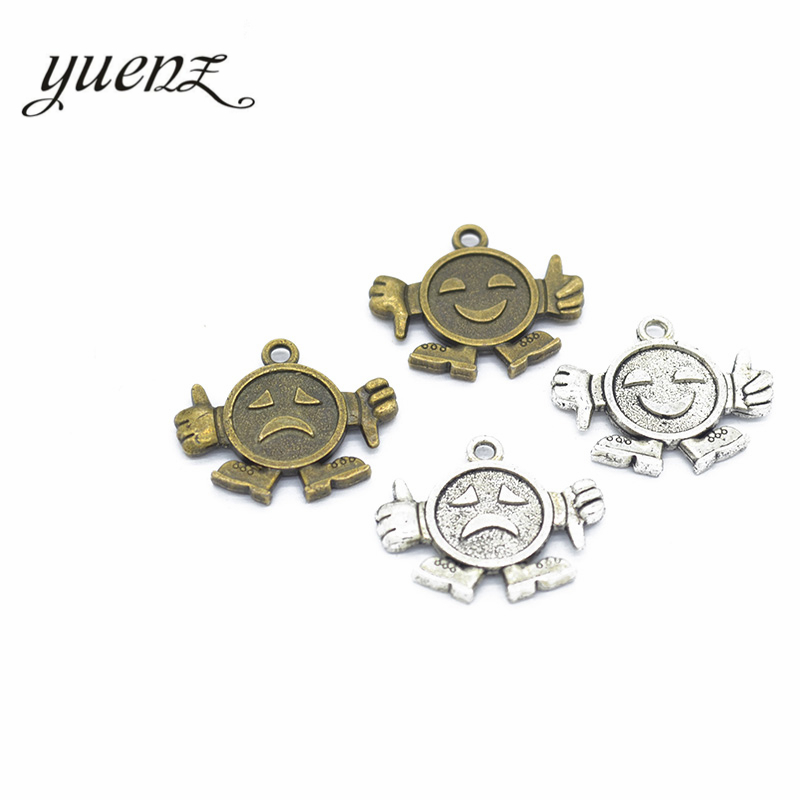 Jewelry & Accessories Yuenz 10pcs 2 Color Antique Silver Facial Expression Charms Zinc Alloy Pendant Jewelry Diy Necklace Earring 23*19mm I131 Choice Materials Charms