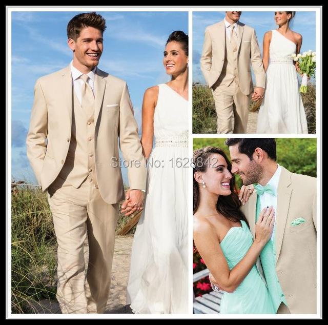 Párr Casamento Terno 2016 Custom Made Beige Hombres Adelgazan Adapta trajes 3 UNIDS Novios Trajes de Esmoquin Trajes de Boda Formal Del Partido trajes