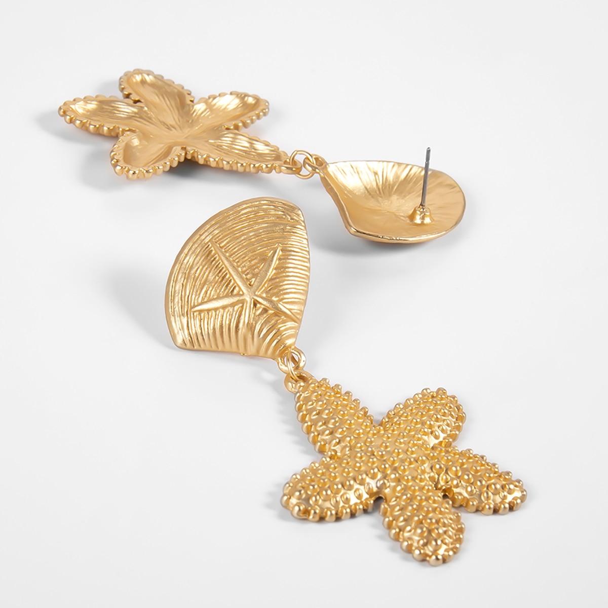 SHIXIN 2019 Korean Fashion Gold Color Starfish Earrings Statement Sea Star Shell Drop Earrings for Women Summer Earings Jewelry in Drop Earrings from Jewelry Accessories