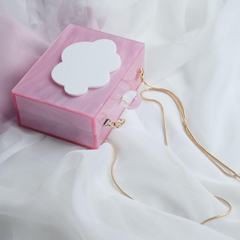 Handbag box bag acrylic bag cloud transparent small square bag  Korean wild mini diagonal cross shoulder bag mini square box