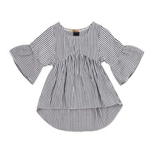 Casual Newborn Baby Girls Infant Tops Sundress Cotton Long Sleeve Striped Mini Loose Dress Clothes Outfits Beach Party Vestidos
