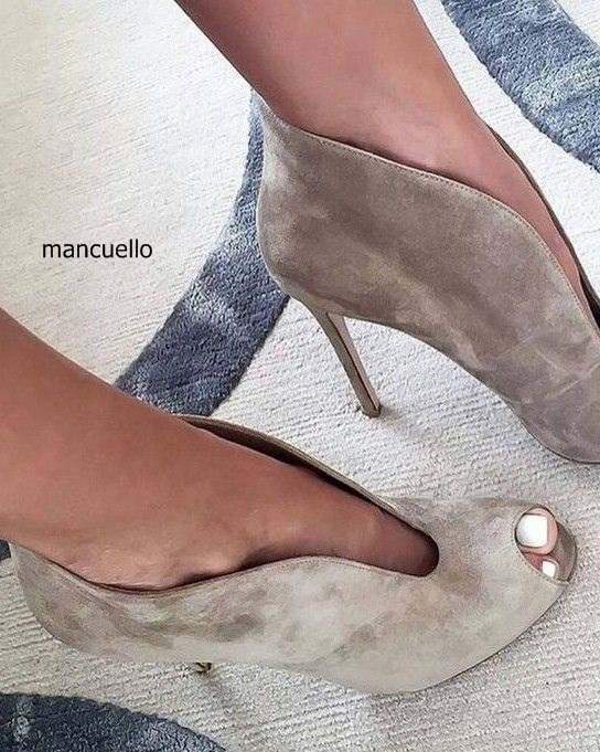 Women Fashion Design Grey Suede Short Boots Sandal Booties Elegant Peep Toe Thin High Heel Ankle Boots with Chic U-shape Instep
