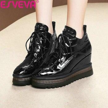 00867a83b ESVEVA/2019 женские ботинки, Осенняя обувь на танкетке, ботинки на молнии,  универсальные женские ботильоны, обувь на платформе и высоком каблуке, .