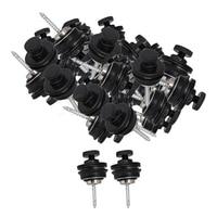 Yibuy 40 pcs Black Flat Head Strap Locks Pins Button Knobs Guitar Secure System