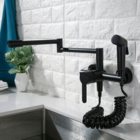 Kitchen Faucet Total Brass Kitchen Sink Mixer Tap Black Paint Hot & Cold Wall Mounted With Spray Gun Rotate Foldable Bidet Tap