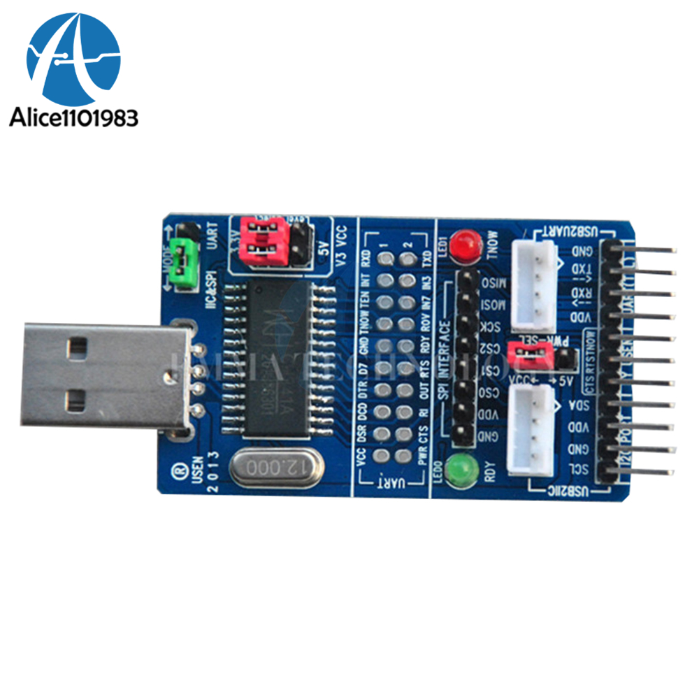 ALL IN 1 Multifunctional Full-Speed USB to SPI/I2C/IIC/UART/TTL/ISP Serial Adapter Module RS232 RS485 Board For STC MCU DIY KITALL IN 1 Multifunctional Full-Speed USB to SPI/I2C/IIC/UART/TTL/ISP Serial Adapter Module RS232 RS485 Board For STC MCU DIY KIT