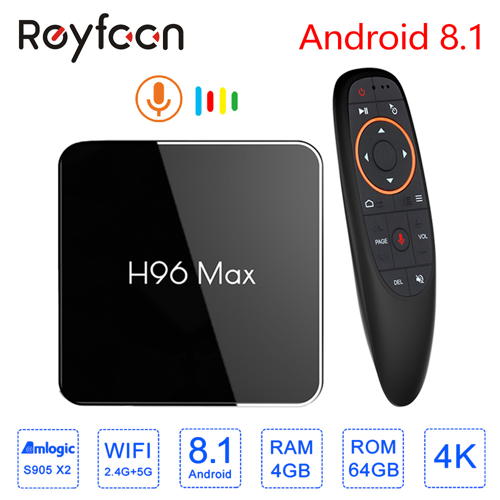 Smart TV Box 4 GB 64 GB H96 MAX X2 Android 8.1 Amlogic S905X2 USB3.0 1080 P H.265 4 K décodeur Google Player Store Youtube H96MAX