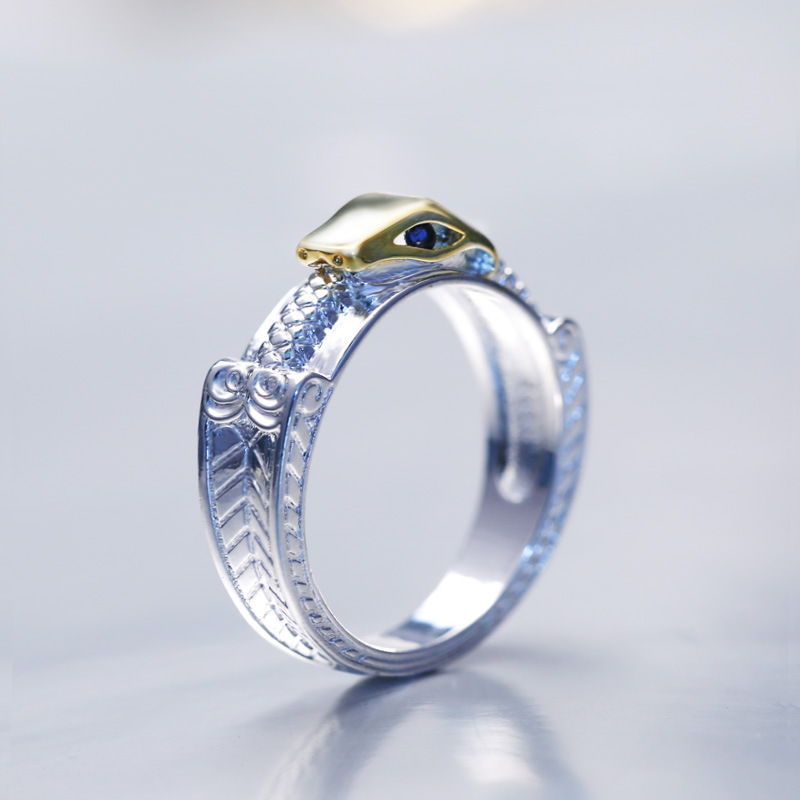 Huitan Creative Ring Two-Tone Snake Unisex Ring Euro New Arrival Punk Stylish Sliver Plated Super Ring For Friends Wholesale(China)
