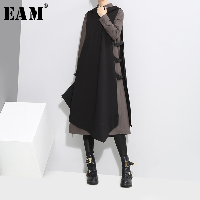 [EAM] 2018 Autumn New Pattern Lapel Side Vent Vest Black Gray Long Sleeve Twinset Dress Women Fashion Tide YA94801