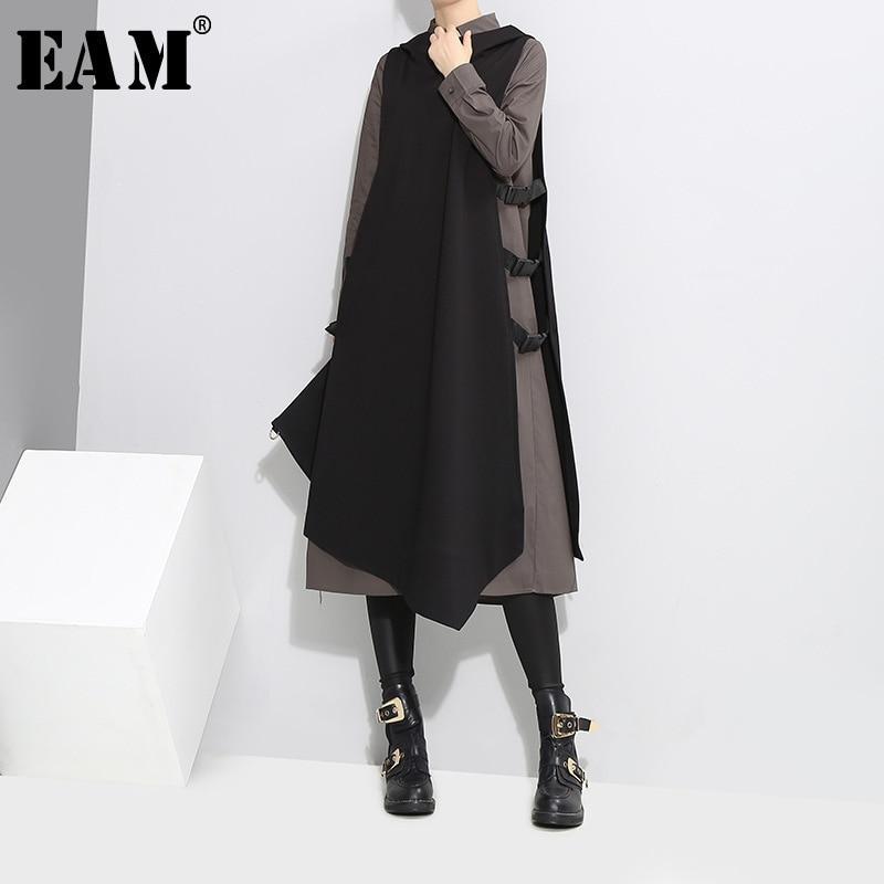 [EAM] 2018 Spring New Pattern lapel  Side Vent Vest black gray Long Sleeve Twinset Dress Women fashion tide YA94801