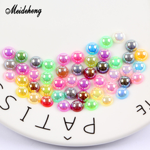 ABS Half Round Beads Imitation Pearl Multicolor Plating Small/No Hole Charms Needlework Materials For Jewelry Making