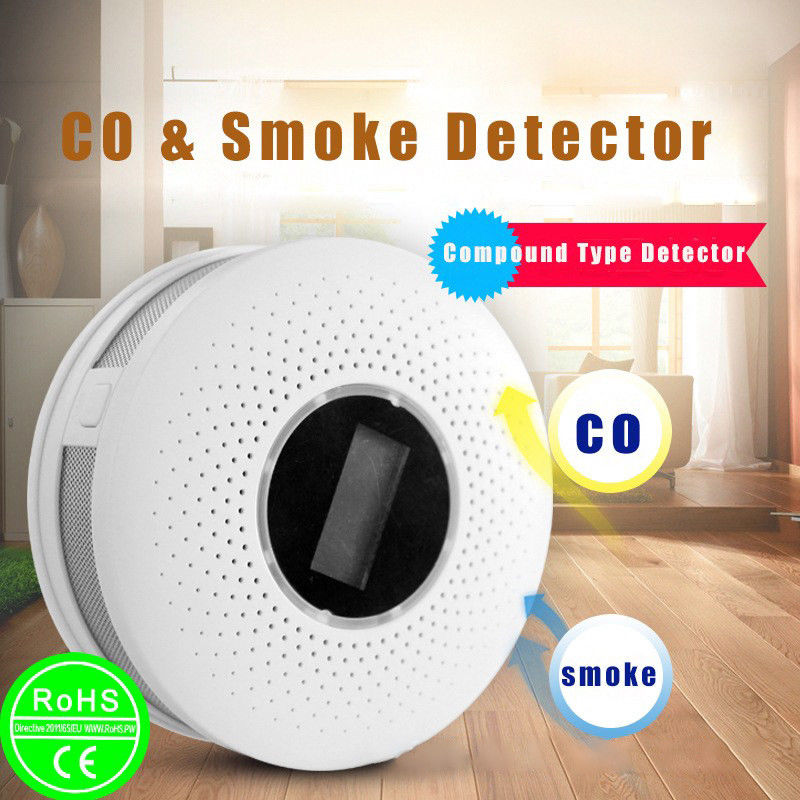 2 IN 1 LCD CO Carbon monoxide smoke integrated alarm Detector Voice Warn Sensor Home Security Protection High Sensitive