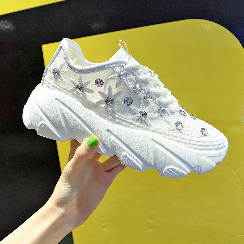 Rimocy casual ladies high platform breathable air mesh summer white sneakers women flat with crystal flower lace up shoes womanRimocy casual ladies high platform breathable air mesh summer white sneakers women flat with crystal flower lace up shoes woman