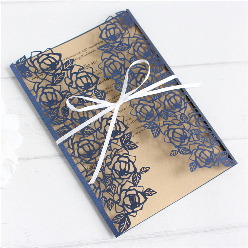 Rose leaf invitations royal blue soft pink white laser lace wedding cards champagne insert personalized printing
