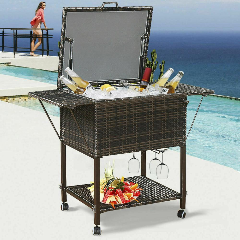 Giantex Portable Rattan Cooler Cart Trolley Outdoor Patio Pool Party Ice Drink Mix Brown HW52974