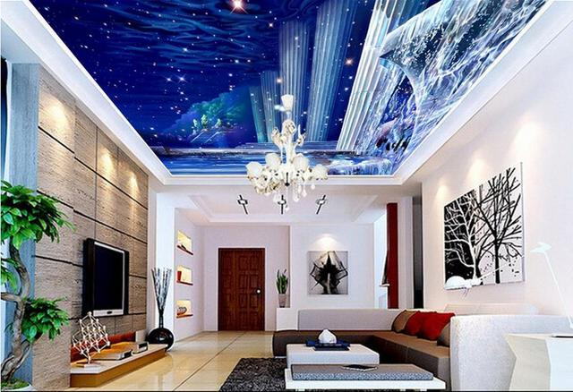 Modern Fashion Beautiful Ceiling Wallpaper Roman Column Stars Sky Ceiling Wallpaper  Home Decor Living Room Ceiling