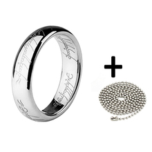 (1 pieces/lot) 100% 316l stainless steel Wedding Ring Titanium Ring women men Silver chain Fashion Jewelry Wholesale Retail