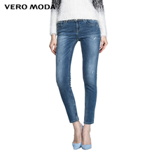 Vero Moda Women Sexy Slim Elastic Fashion Vintage Bleached Skinny Jeans Girl Casual denim Trousers 315332003