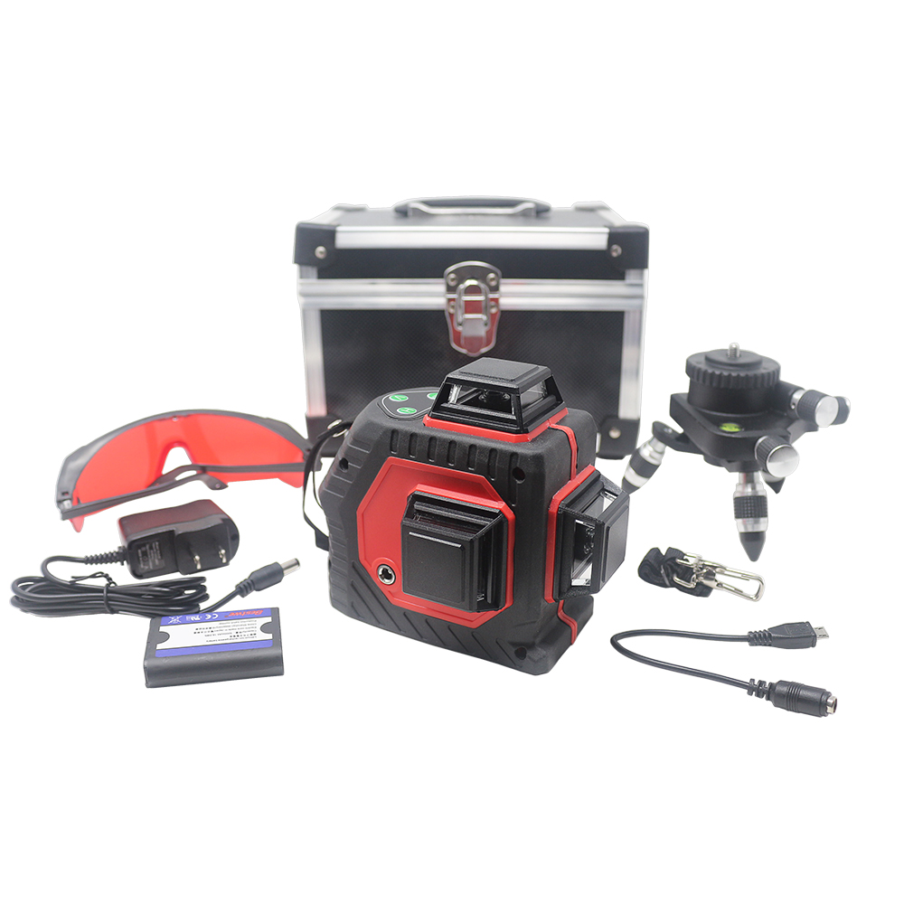 Laser Level 12 Lines Red 3D Levels 360 degree Rotary Vertical and Horizontal Self-leveling Cross Line Box EU US Plug Out/indoor kacy al04 laser level 2 line rotary 360 leveling 1v1h horizontal and vertical cross lazer levels lines excluding tripod