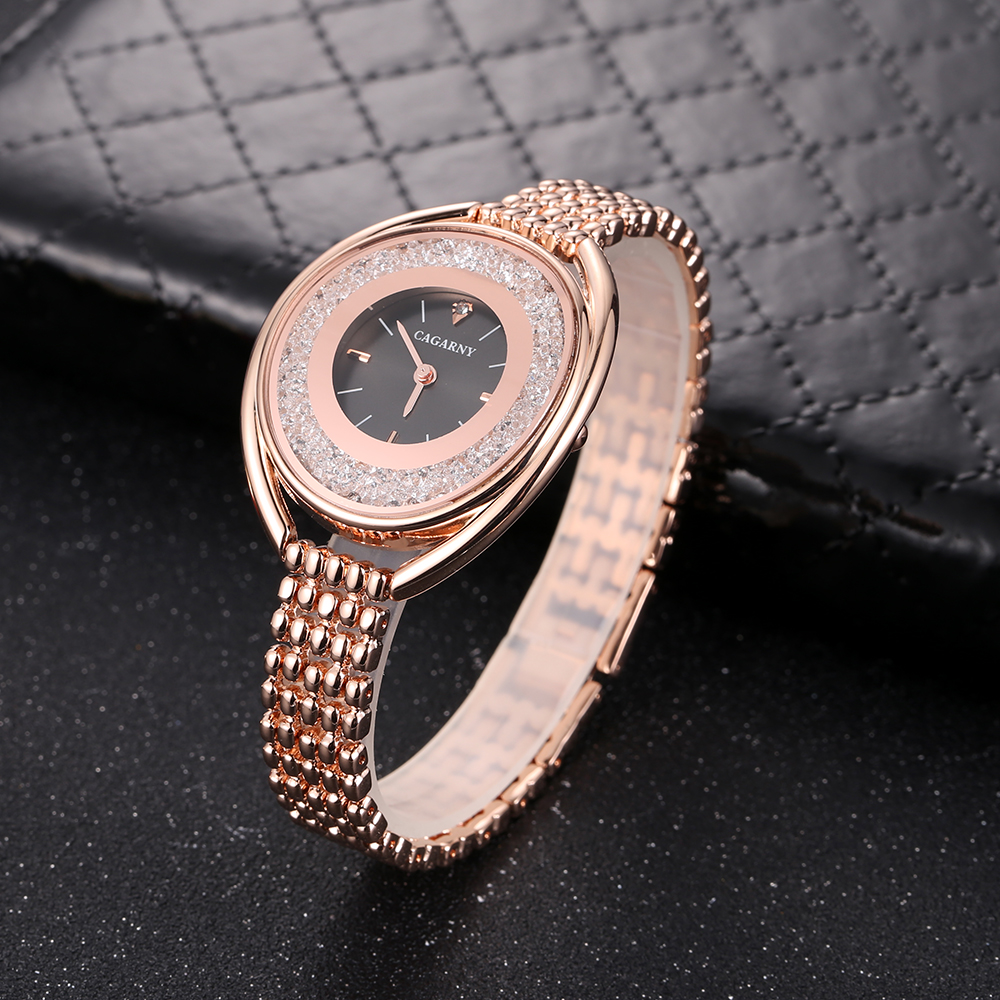 top luxury brand cagarny quartz watch women fashion ladies wristwatches crystal rose gold case creative design free shipping (8)