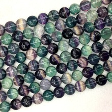 """Натуральный Радужный фиолетовый зеленый флюорит полудрагоценные камни ожерелье браслет Монета бусины 1"""" 05887"""