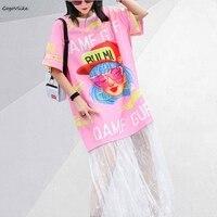 Kawaii Pink shirt dress Lace Patchwork women dresses Short Sleeve 2019 New ulzzang Korean Long Vestidos summer Cartoon LT190S50