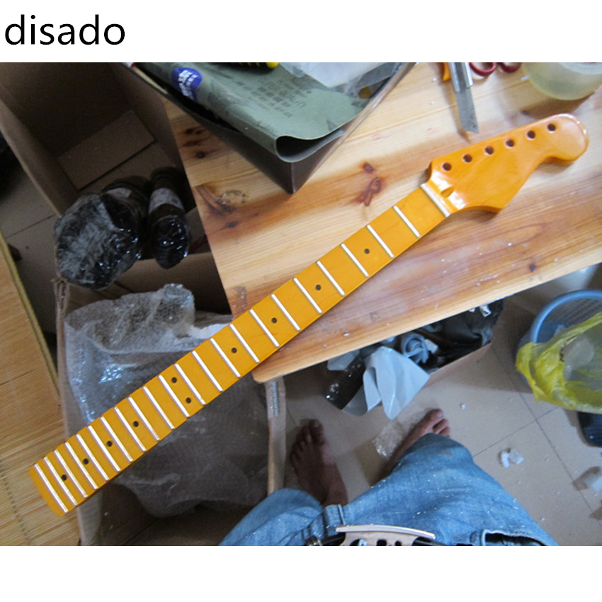 disado 21 22 24 Frets maple Electric Guitar Neck maple fretboard inlay dots glossy paint guitar parts accessories