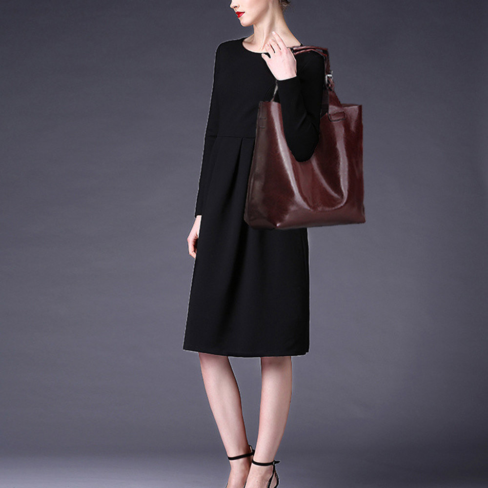 Zency หนังแท้ 100% สีน้ำตาลกระเป๋าถือสตรี Lady Tote กระเป๋าแล็ปท็อปคลาสสิกกาแฟหญิงไหล่กระเป๋าช้อปปิ้งกระเป๋า-ใน กระเป๋าหูหิ้วด้านบน จาก สัมภาระและกระเป๋า บน   2