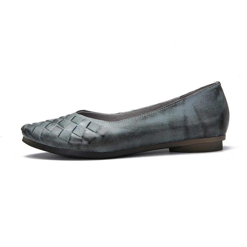 VALLU Primavera Verano mujeres pisos de cuero genuino puntiagudos zapatos originales hechos a mano mujeres básicas bailarina deslizamiento en zapatos planos