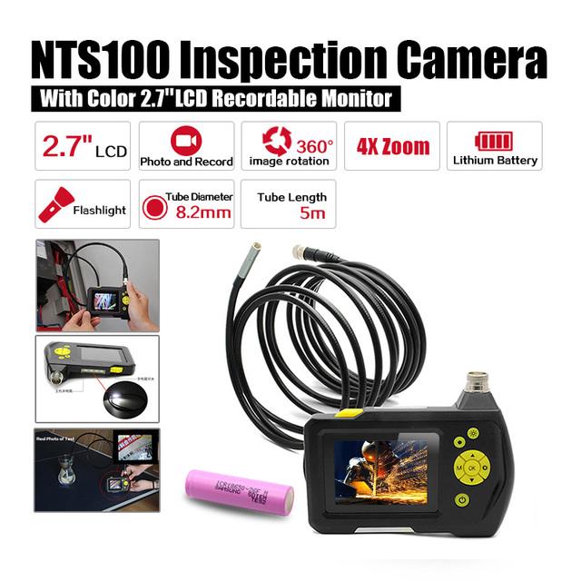 """Dia 8.2mm 2.7 """"LCD NTS100 Endoscópio Endoscópio 5 M Cobra Tubo de Inspeção Camera DVR + Livre 18650 bateria de Lítio bateria"""