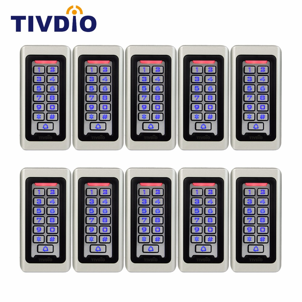 10pcs TIVDIO Keypad RFID Access Control System Proximity Card Standalone 2000 Users Door Access Control Waterproof F9501D rfid ip65 waterproof access control touch metal keypad standalone 125khz card reader for door access control system 8000 users