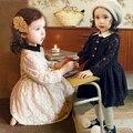 Wholesale 2016 new girls dress Hot autumn girls long-sleeved lace think cotton dress children dress