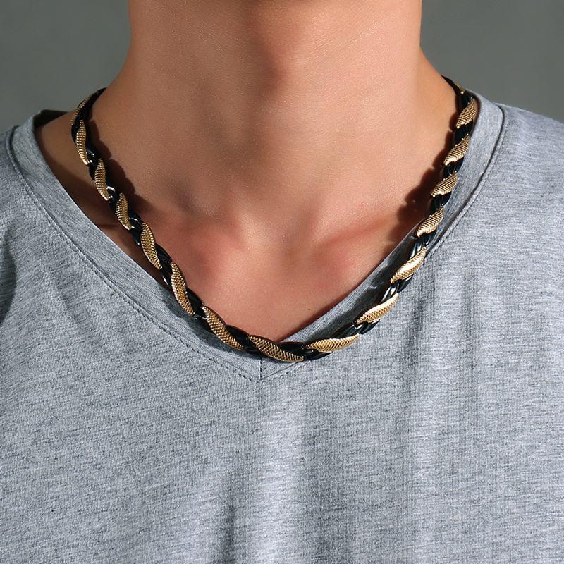 Mens Choker Halsketten Edelstahl 4 Element Magnetic Therapy Halskette Schmerzlinderung für Kopfschmerzen und Schulter Unisex Schmuck
